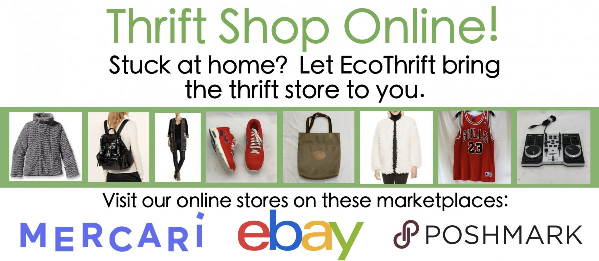 Thrift shop online! Buy thrift goods online at our Mercari, eBay, and Poshmark stores.